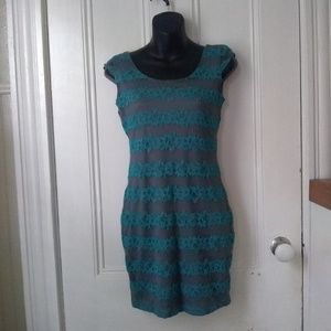 Juniors Grey & Teal Striped Lace Dress